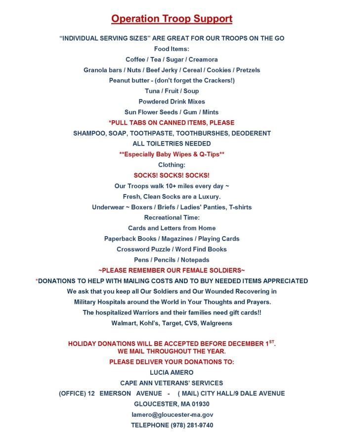 2015 holiday wishlist for veteran's center