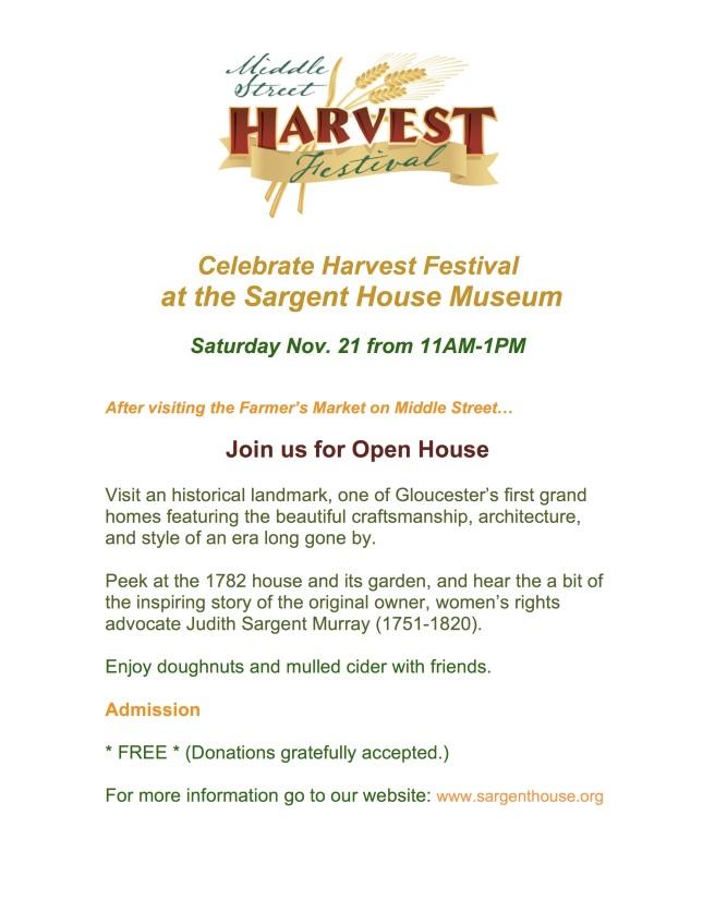 Sargent House Celebrates Harvest Festival, 11/21