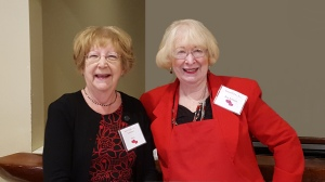 Volunteers Patty Colbert and Bea Robbins helped at SeniorCare's Valentine's Day Breakfast for Meals on Wheels.