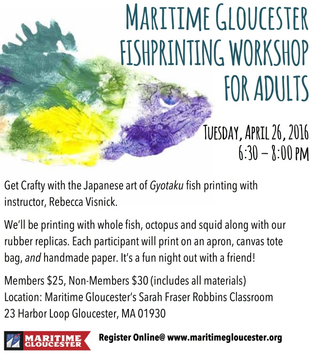 Fish Print Workshop April 2016 poster