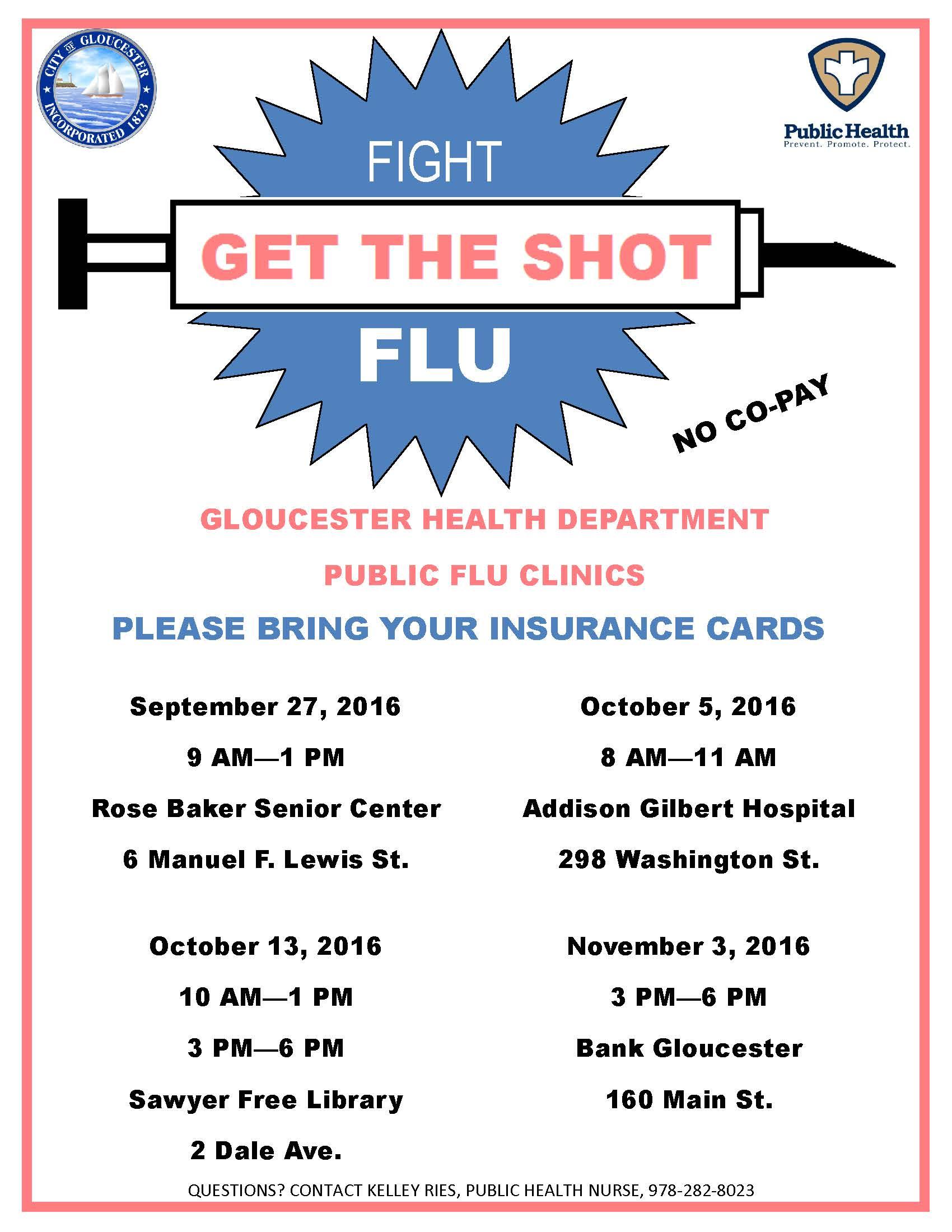 Flu Vaccine Flyers Free: Gloucester Flu Clinics
