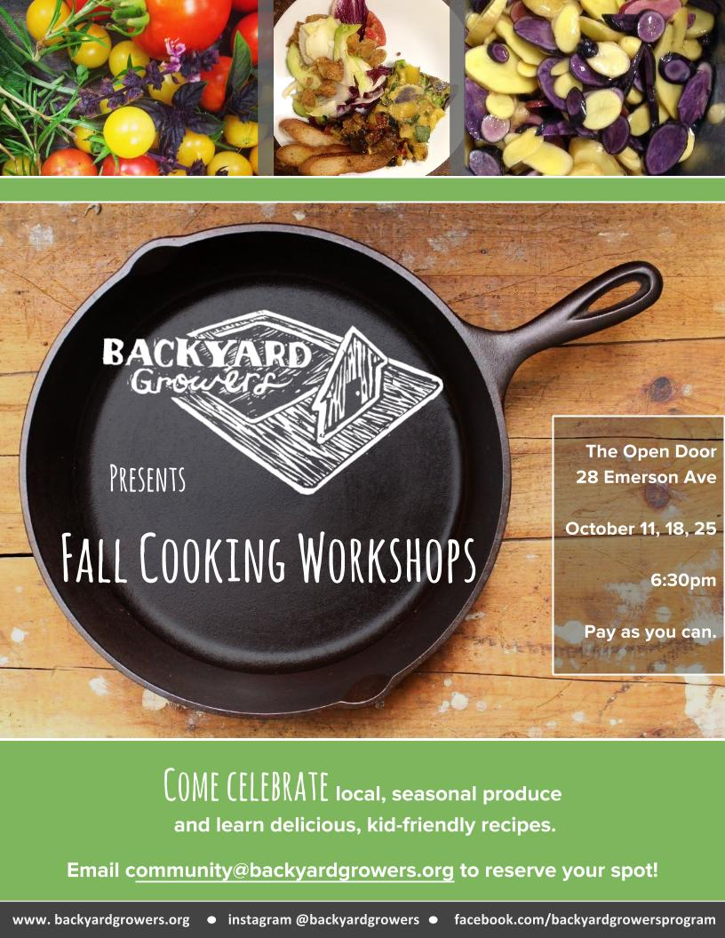 join backyard growers for october cooking workshops cape ann