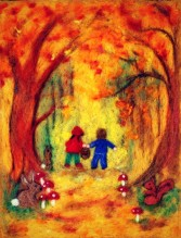 children-in-autumn-woods