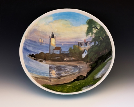 """The Annisquam Light"" by Ken Knowles.Bowl is 13.5"" diameter and 3.5"" high."