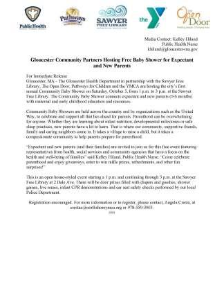 Baby Shower Press Release