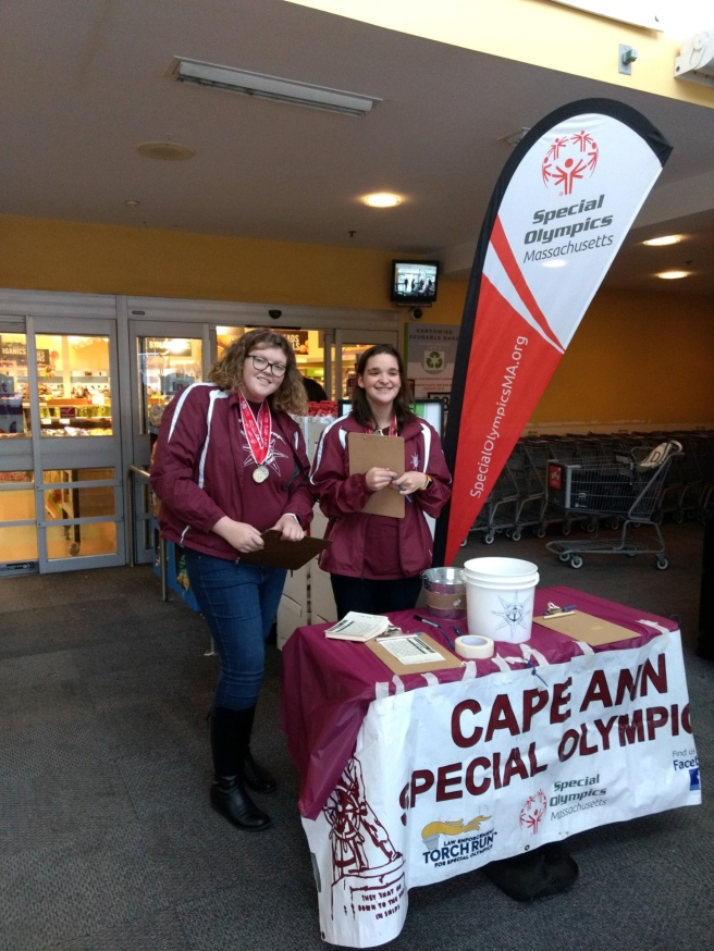 cape ann special olympics at stop  u0026 shop selling raffle tickets